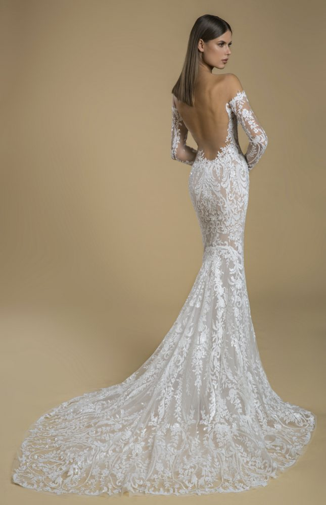 Off The Shoulder Long Sleeve Sequin Sheath Wedding Dress by Love by Pnina Tornai - Image 2