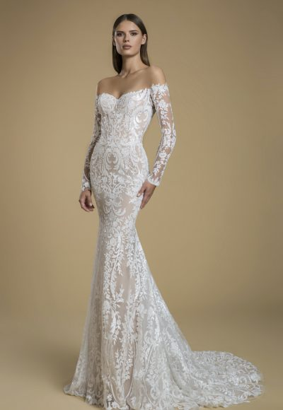 Off The Shoulder Long Sleeve Sequin Sheath Wedding Dress by Love by Pnina Tornai