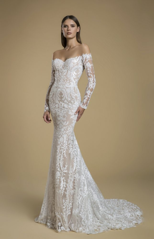Off The Shoulder Long Sleeve Sequin Sheath Wedding Dress by Love by Pnina Tornai - Image 1