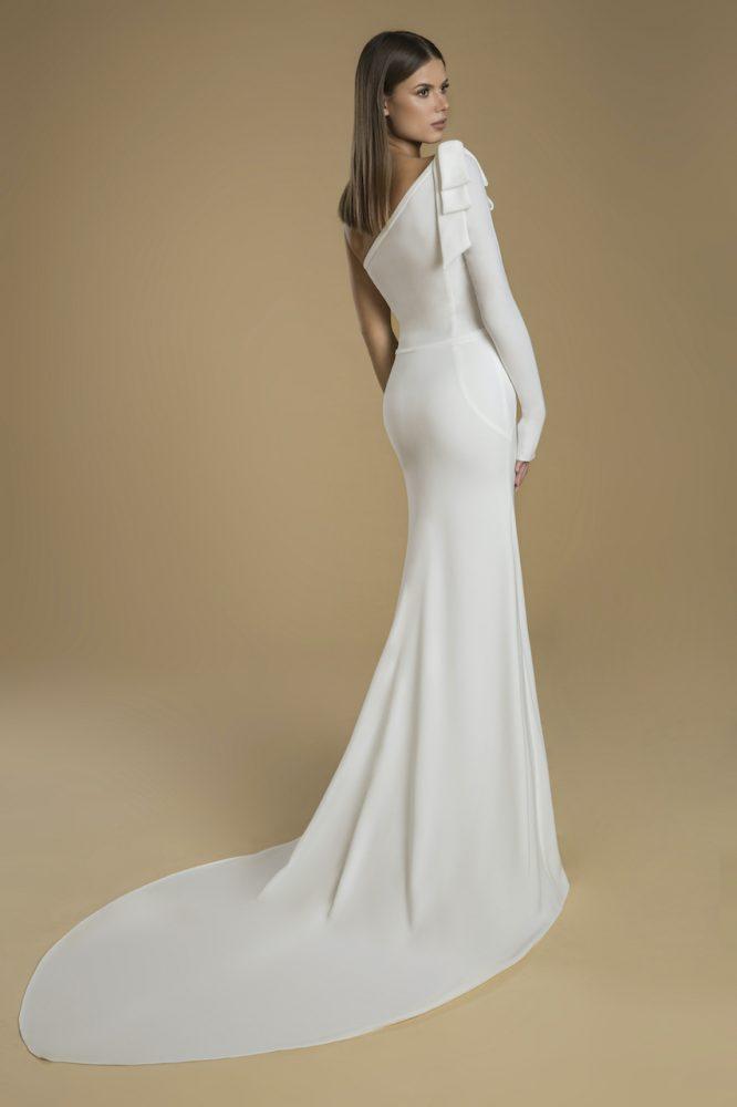 One-shoulder Crepe Sheath Wedding Dress by Love by Pnina Tornai - Image 2