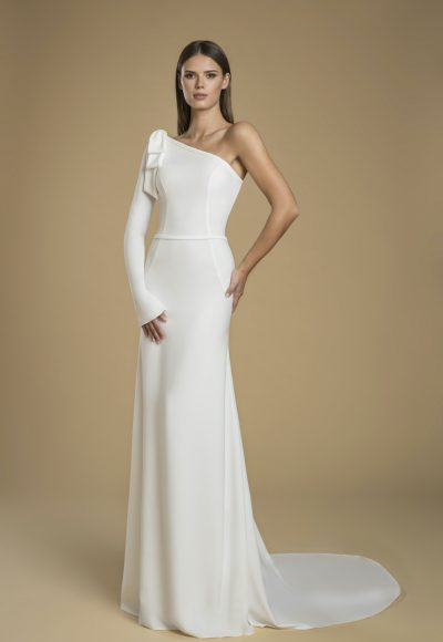 One-shoulder Crepe Sheath Wedding Dress by Love by Pnina Tornai
