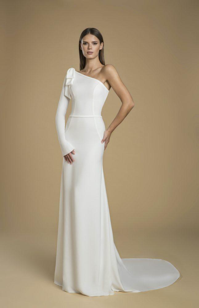 One-shoulder Crepe Sheath Wedding Dress by Love by Pnina Tornai - Image 1