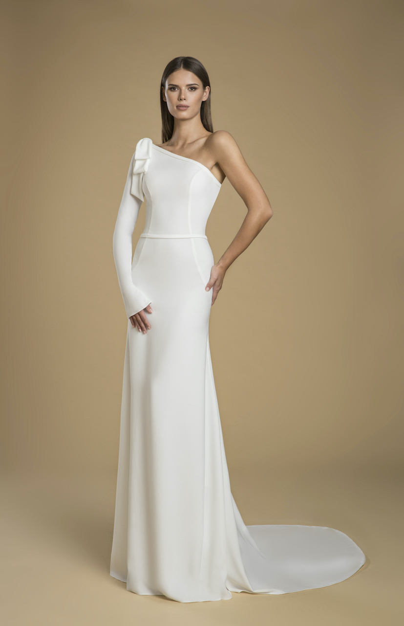 One shoulder Crepe Sheath Wedding Dress   Kleinfeld Bridal