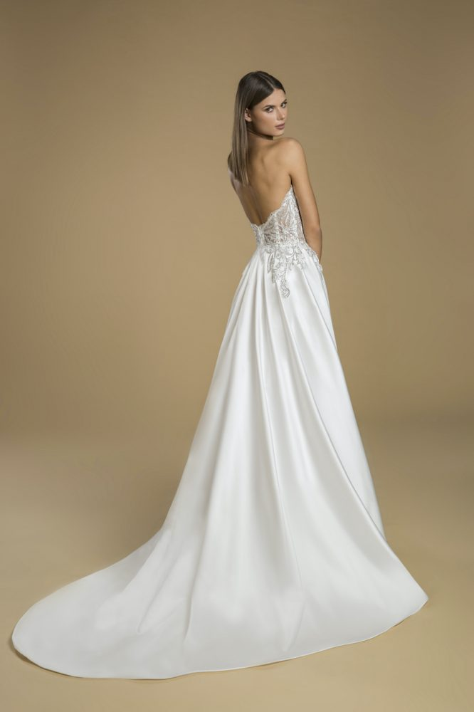 Strapless A-line Satin Skirt Wedding Dress With Lace Embellished Bodice by Love by Pnina Tornai - Image 2