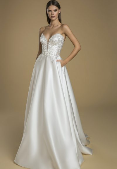 Strapless A-line Satin Skirt Wedding Dress With Lace Embellished Bodice by Love by Pnina Tornai