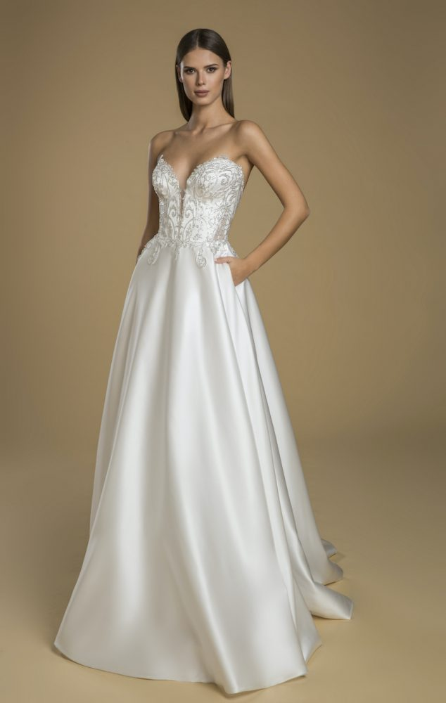 Strapless A-line Satin Skirt Wedding Dress With Lace Embellished Bodice by Love by Pnina Tornai - Image 1
