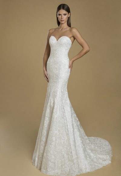 Strapless Fit And Flare Lace Wedding Dress by Love by Pnina Tornai