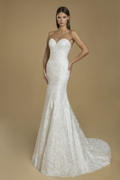 Strapless Fit And Flare Lace Wedding Dress by Love by Pnina Tornai - Image 1