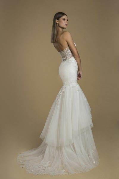Strapless Fit And Flare Tiered Skirt Wedding Dress by Love by Pnina Tornai - Image 2
