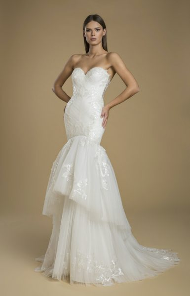 Strapless Fit And Flare Tiered Skirt Wedding Dress by Love by Pnina Tornai - Image 1