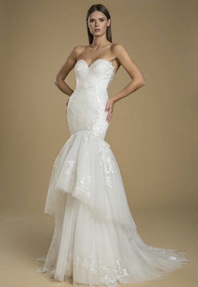Strapless Fit And Flare Tiered Skirt Wedding Dress by Love by Pnina Tornai
