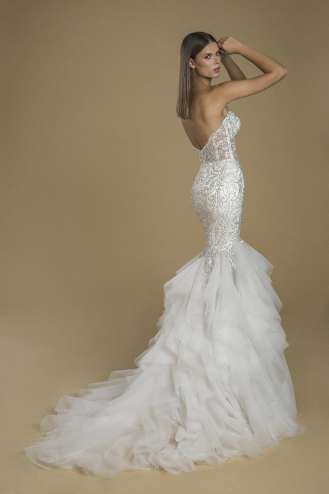 Strapless Mermaid Lace Embellished Ruffle Skirt Wedding Dress by Love by Pnina Tornai - Image 2