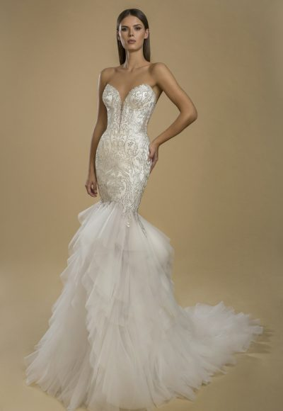 Strapless Mermaid Lace Embellished Ruffle Skirt Wedding Dress by Love by Pnina Tornai
