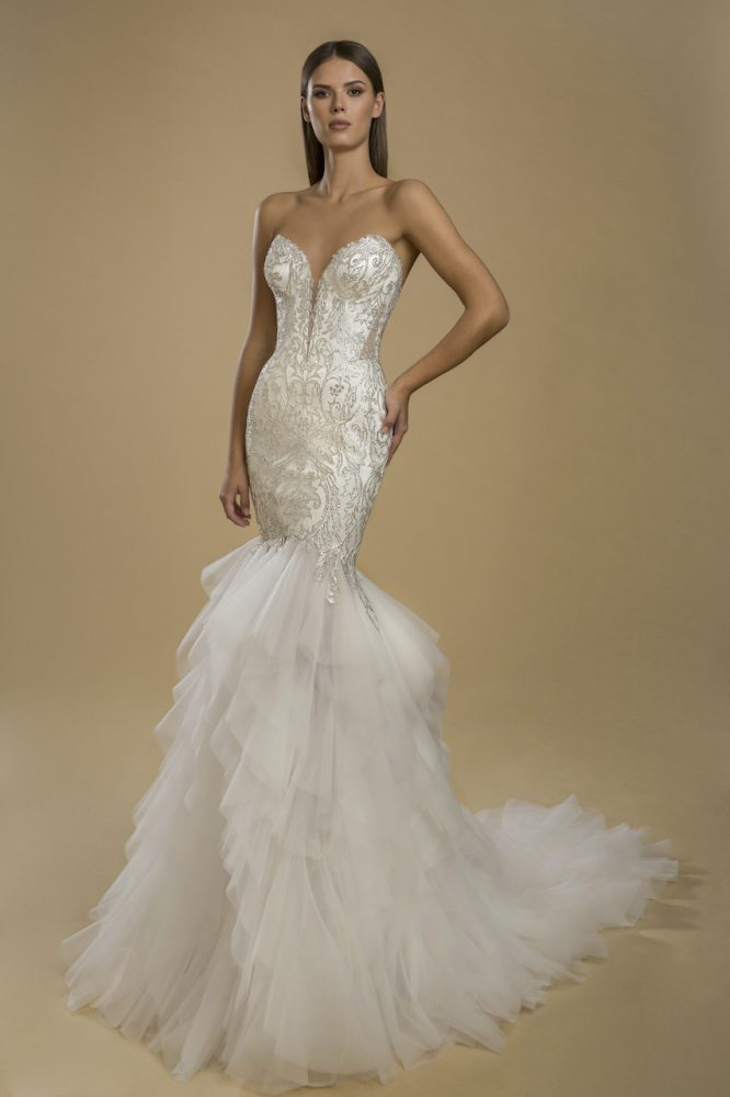 Strapless Mermaid Lace Embellished Ruffle Skirt Wedding Dress by Love by Pnina Tornai - Image 1