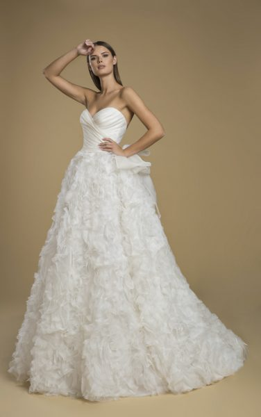 Strapless Organza Ruffled Ball Gown Wedding Dress by Love by Pnina Tornai - Image 1