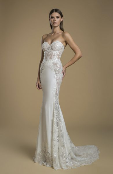 Strapless Sheath Wedding Dress With Paneling by Love by Pnina Tornai - Image 1