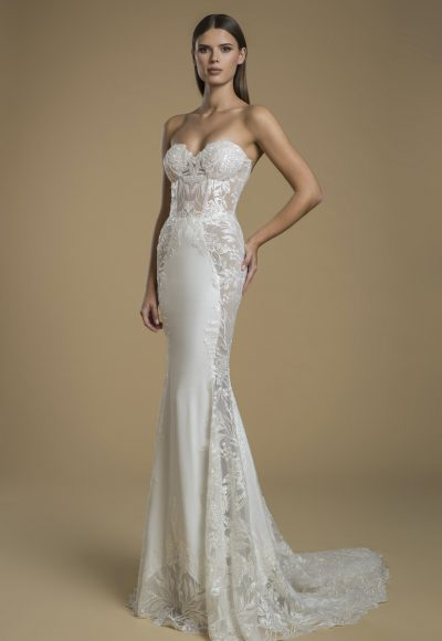 Strapless Sheath Wedding Dress With Paneling by Love by Pnina Tornai