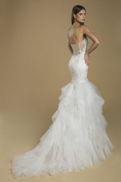 Strapless Sweetheart Neckline Fit And Flare Ruffled Skirt Wedding Dress by Love by Pnina Tornai - Image 2