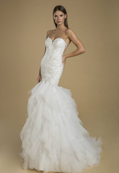 Strapless Sweetheart Neckline Fit And Flare Ruffled Skirt Wedding Dress by Love by Pnina Tornai