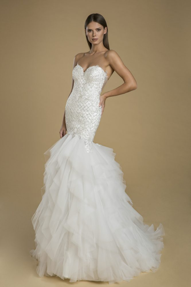 Strapless Sweetheart Neckline Fit And Flare Ruffled Skirt Wedding Dress by Love by Pnina Tornai - Image 1