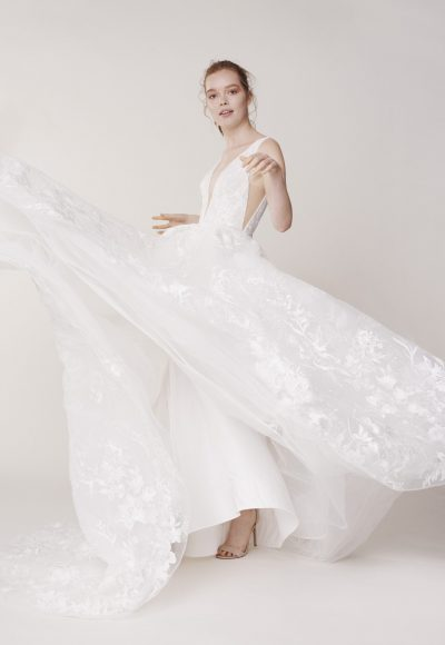 Sleeveless V-neck Lace Ball Gown Wedding Dress by Alyne by Rita Vinieris