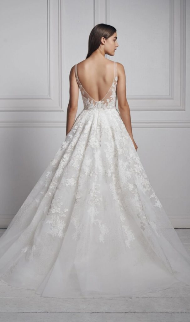 Sleeveless V-neck Ball Gown Wedding Dress by Anne Barge - Image 2