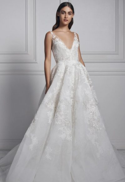 Sleeveless V-neck Ball Gown Wedding Dress by Anne Barge