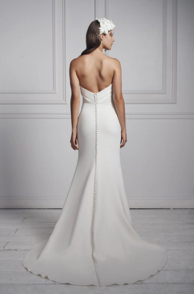 Strapless Simple Crepe Sheath Wedding Dress by Anne Barge - Image 2