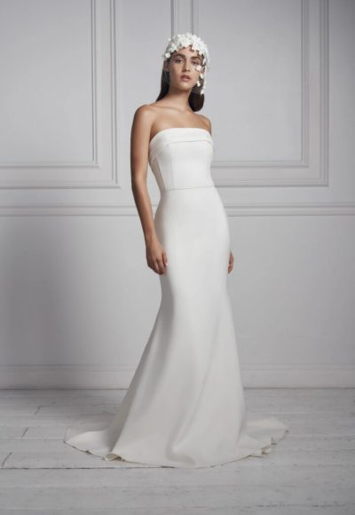 Strapless Simple Crepe Sheath Wedding Dress by Anne Barge