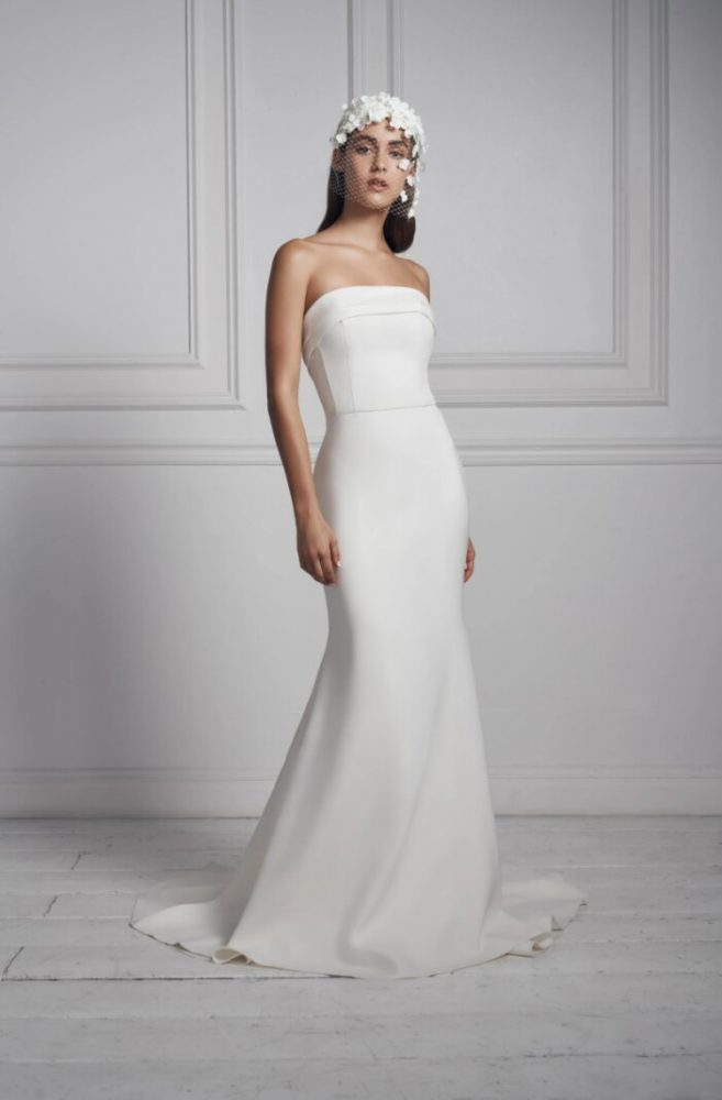 Strapless Simple Crepe Sheath Wedding Dress by Anne Barge - Image 1