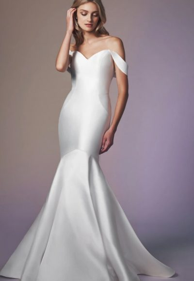 Strapless Simple Off The Shoulder Fit And Flare Wedding Dress by Anne Barge