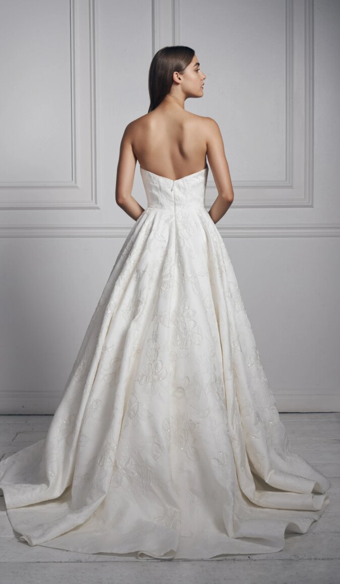 Strapless V-neck Ball Gown Floral Beaded Wedding Dress by Anne Barge - Image 2