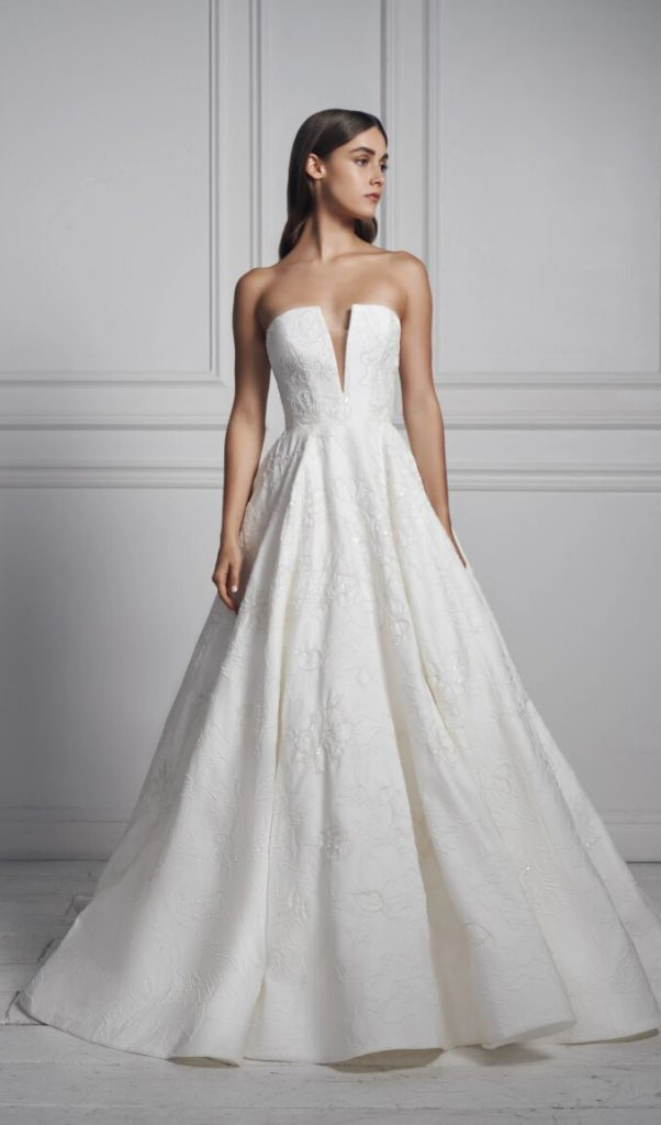 Strapless V-neck Ball Gown Floral Beaded Wedding Dress by Anne Barge - Image 1