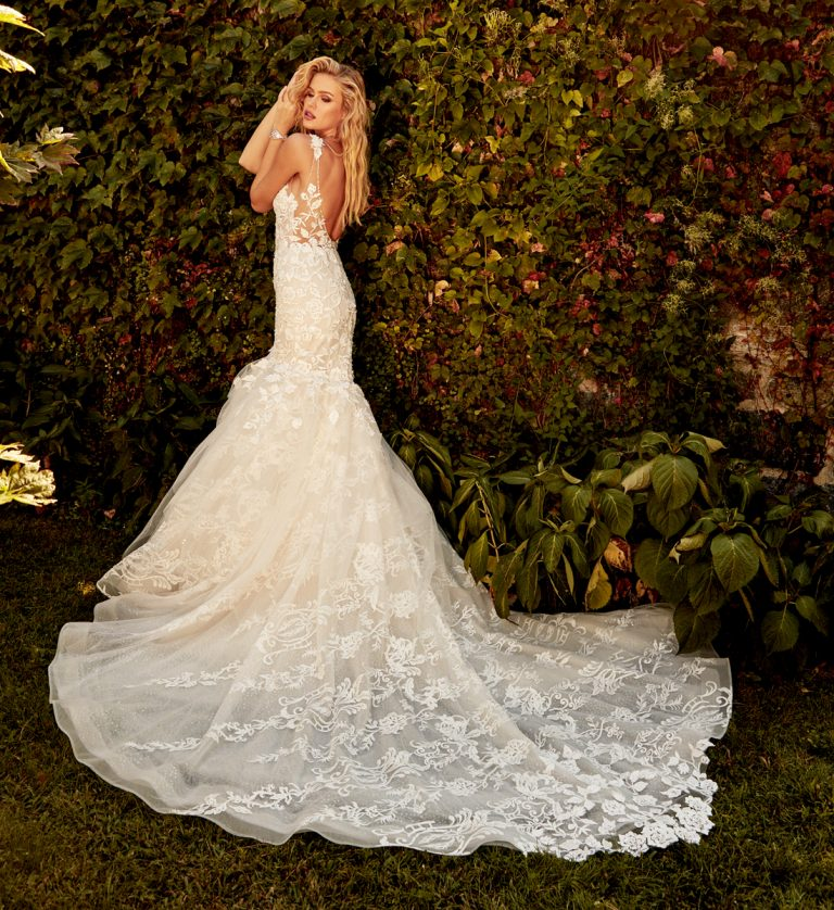 Sleeveless V-neck Fit And Flare Wedding Dress by Eve of Milady - Image 2