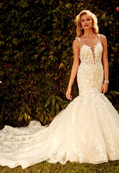 Sleeveless V-neck Fit And Flare Wedding Dress by Eve of Milady