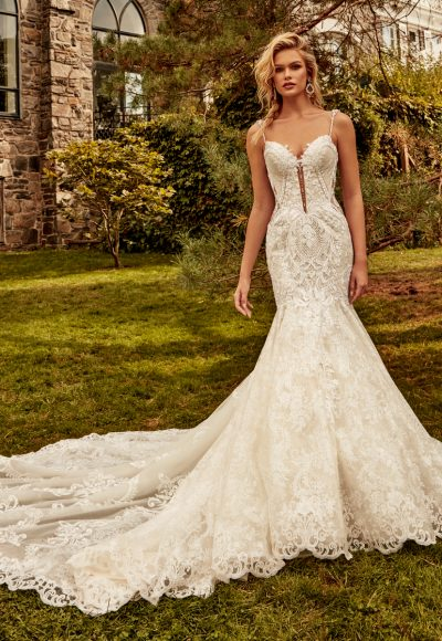 Spaghetti Strap Beaded Mermaid Wedding Dress by Eve of Milady