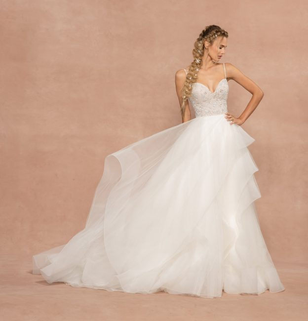 Spaghetti Strap Tulle Ball Gown Wedding Dress by Hayley Paige - Image 1