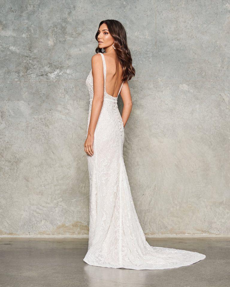 Sleeveless Beaded Sheath Wedding Dress by Jane Hill - Image 2