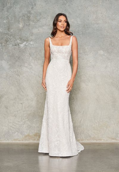Sleeveless Beaded Sheath Wedding Dress by Jane Hill