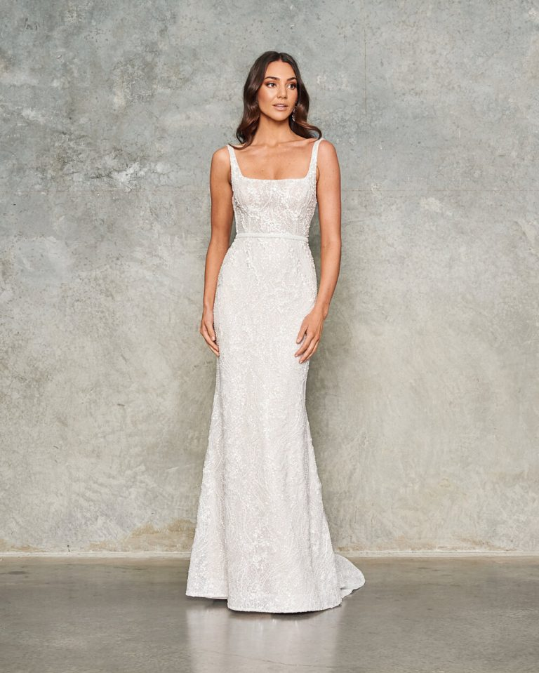 Sleeveless Beaded Sheath Wedding Dress by Jane Hill - Image 1