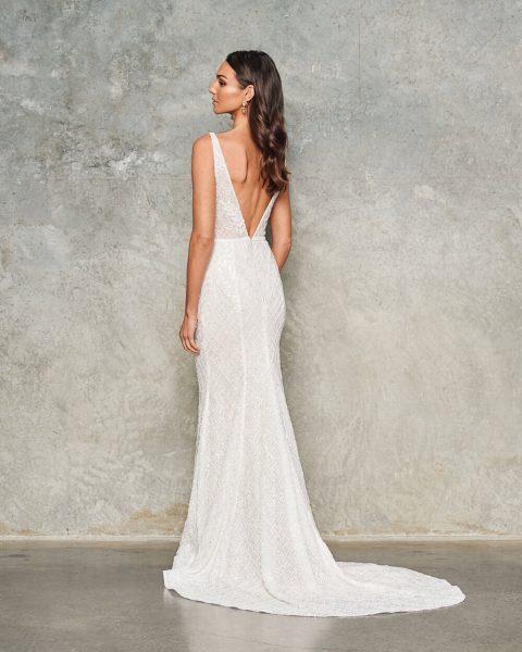 Sleeveless V Neck Beaded Wedding Dress by Jane Hill - Image 2