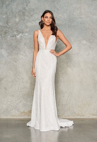 Sleeveless V Neck Beaded Wedding Dress by Jane Hill