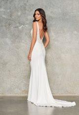 Sleeveless V Neck Crepe Sheath Wedding Dress by Jane Hill - Image 2