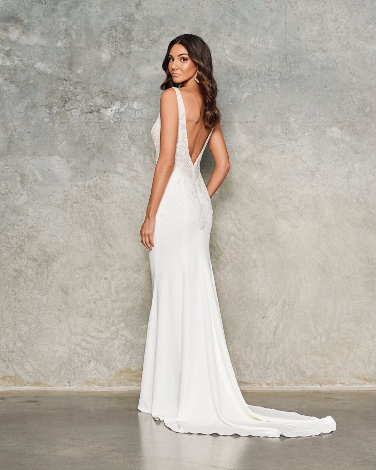 Sleeveless V Neck Crepe Sheath Wedding Dress by Jane Hill - Image 2
