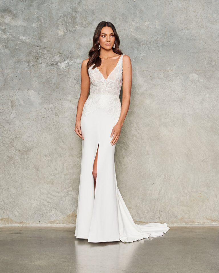Sleeveless V Neck Crepe Sheath Wedding Dress by Jane Hill - Image 1