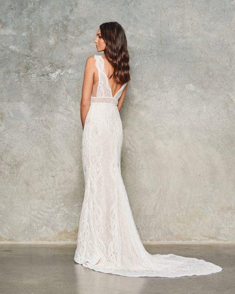Sleeveless V-neck Lace Embroidered Sheath Wedding Dress by Jane Hill - Image 2