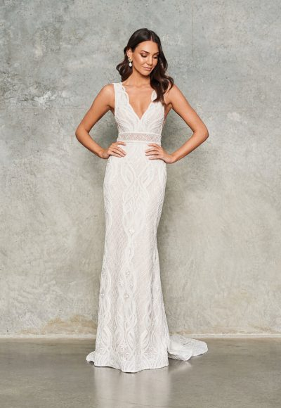 Sleeveless V-neck Lace Embroidered Sheath Wedding Dress by Jane Hill