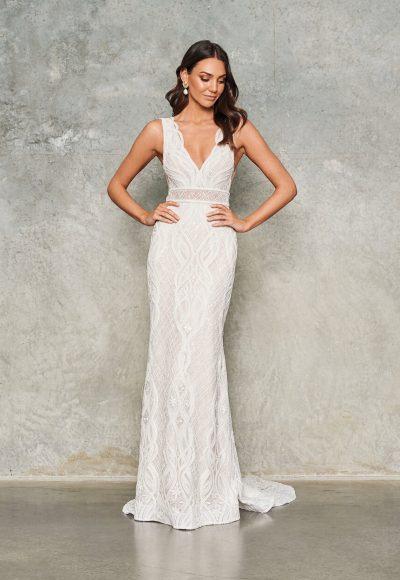 Sleeveless V-neck Lace Embroidered Sheath Wedding Dress by Jane Hill