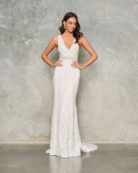 Sleeveless V-neck Lace Embroidered Sheath Wedding Dress by Jane Hill - Image 1