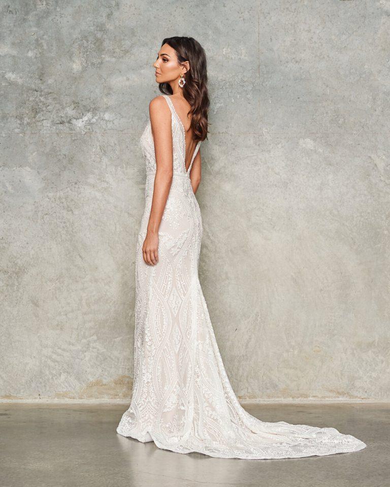 Sleeveless V-neck Lace Sheath Wedding Dress by Jane Hill - Image 2